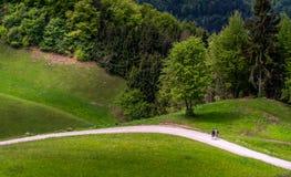 与走在小山的家庭的风景 库存图片