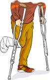 与走在拐杖的被包扎的脚 免版税库存图片