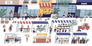 与走在摊位中的愉快的微小的人民或顾客的室外花市场,卖花人卖花束的和盆 库存例证