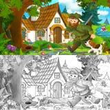 与走往有他的狗的美丽的老房子的猎人的动画片场面-与着色页 免版税图库摄影