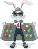 与走私复活节彩蛋传染媒介动画片的滑稽的兔子 库存图片
