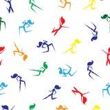 与走,跑和跳跃妇女的色的剪影的无缝的样式 手拉的向量例证 免版税图库摄影