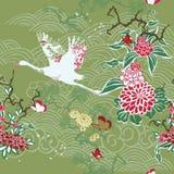 与起重机和ikebana的无缝的背景 免版税图库摄影