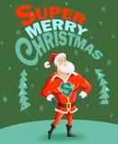 与超级圣诞老人的滑稽的圣诞节海报 免版税库存照片