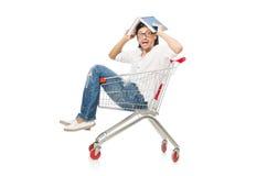 与超级市场篮子推车的人购物 免版税库存照片