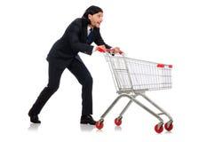与超级市场篮子推车的人购物 免版税图库摄影