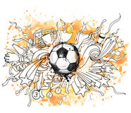 与足球和装饰的手拉的传染媒介例证 向量例证