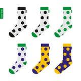 与足球样式的袜子在巴西旗子颜色 库存图片