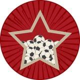 与足球橄榄球的葡萄酒红色星在葡萄酒星bur 库存图片