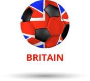 与足球的英国卡片在国旗的颜色 库存例证