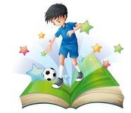 与足球运动员的图象的一本书 免版税库存图片