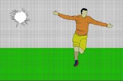 与足球运动员目标庆祝的黑滤网 免版税库存图片