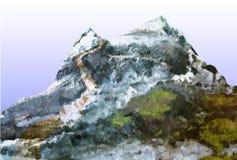 与足迹的抽象山用冰报道的风景,峰顶和石头 免版税库存照片