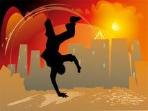 与跃迁和手倒立的Breakdance样式 免版税库存照片