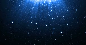 与跌倒光亮的霓虹的星的蓝色闪烁微粒背景和轻的火光或者强光为豪华PR躺在了上面作用 向量例证