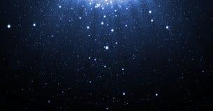 与跌倒光亮的霓虹的星的蓝色闪烁微粒背景和轻的火光或者强光为豪华PR躺在了上面作用 免版税图库摄影