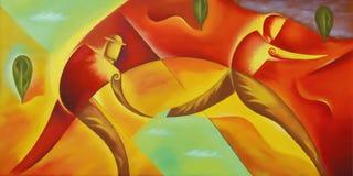 与跑在五颜六色的风景的两个人的当代抽象油画 皇族释放例证