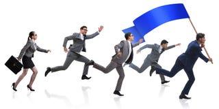 与跑在企业概念的空白的横幅的商人 免版税图库摄影