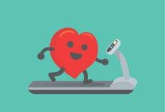 与跑的心脏锻炼在踏车 免版税库存图片
