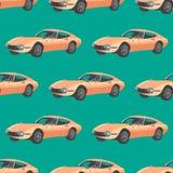 与跑车的无缝的样式 减速火箭的汽车动画片 库存照片