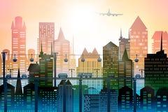 与路、桥梁和汽车的背景 大城市的现代摩天大楼 与路、桥梁和汽车的背景 免版税库存照片