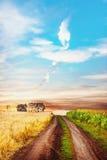 与路的平静的农村场面在两个领域之间 免版税库存图片