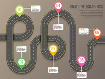 与路线图的Infographics模板使用尖 顶视图传染媒介元素 旅行 事务和旅途 向量例证