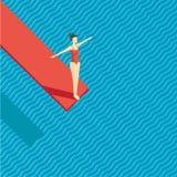 与跳板的游泳池 跳在水的女孩 向量例证
