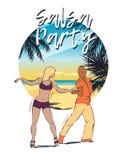 与跳舞古巴人夫妇的舞会例证 免版税库存图片
