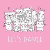 与跳舞和演奏在党的朋友的手拉的逗人喜爱的猫音乐与口号让美国为打印的发球区域跳舞 传染媒介illu 向量例证