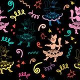 与跳舞滑稽的动画片猫的狂欢节无缝的样式 库存照片