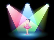 与跳芭蕾舞者的一个阶段 库存图片