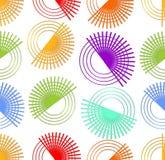 与转动五颜六色的元素的现代无缝的抽象背景 库存图片