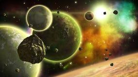 与转动的行星和飞行小行星的意想不到的空间视图 科幻艺术 无缝 股票录像