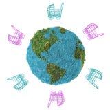与轮椅的抽象地球在白色背景 图库摄影