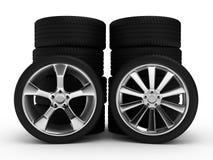 与轮胎的不同的轮子 免版税库存图片