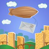 与软式小型飞艇和信件的都市风景 库存例证