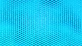 与软的海的美好的蓝色hexagrid背景挥动 皇族释放例证