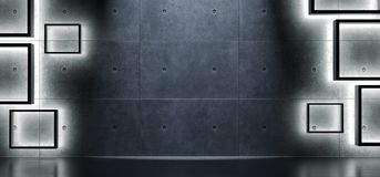与软的立方体光的内部具体背景 免版税库存照片