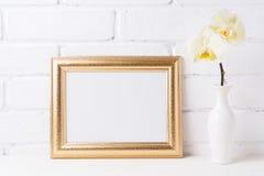 与软的黄色兰花的金黄风景框架大模型在花瓶 免版税库存图片