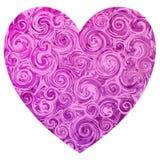 与轻和深桃红色的大理石漩涡的桃红色华伦泰形状心脏 皇族释放例证