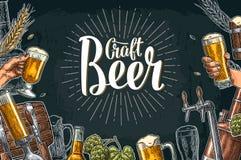 与轻拍、类、罐、瓶和坦克的啤酒集合从啤酒厂工厂 库存例证