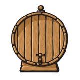 与轻拍的动画片老木桶 手拉的向量例证 库存例证