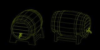 与轻拍的木桶 传染媒介概述例证 库存例证