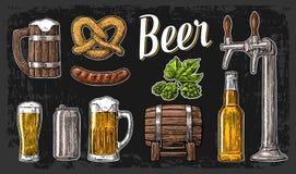 与轻拍,类的啤酒集合,能,瓶、桶、香肠、椒盐脆饼和蛇麻草 葡萄酒传染媒介网的板刻例证,海报 皇族释放例证