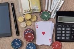 与辅助部件的赌博娱乐场概念 库存图片