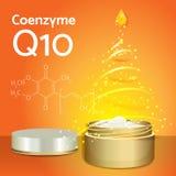 与辅酵素Q10的护肤霜 化学式 库存照片