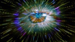 与辐形techno光芒的人的眨眼睛眼睛