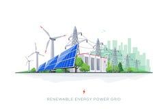 与输电线的可更新的太阳和风能电池存贮聪明的网格系统 库存例证