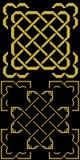 与边界古金色的凯尔特结在黑色 免版税库存图片